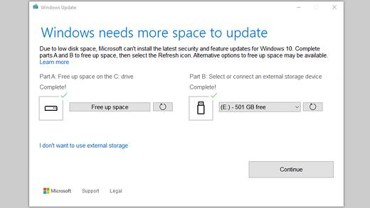 Eine Datenbereinigung nach dem Upgrade auf Windows 10 schafft Speicherplatz